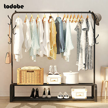 Stainless Steel Clothes Rack Removable Floor-standing Clothing Hanger Indoor Balcony Drying Shoes Box Organizer Coat - discount item  35% OFF Home Furniture