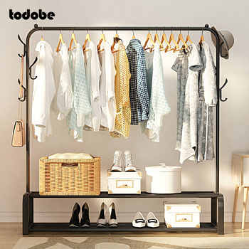 Stainless Steel Clothes Rack Removable Floor-standing Clothing Hanger Indoor Balcony Drying Rack Shoes Box Organizer Coat Rack - DISCOUNT ITEM  35 OFF Furniture