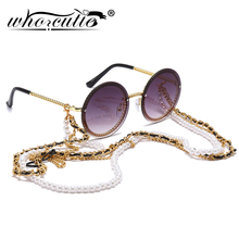 Vintage Round Sunglasses Women with Pearl Chain Accessory 2019 Luxury Brand Desi