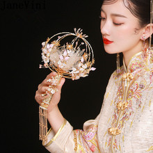 JaneVini Luxury Crystal Bridal Fan Cane Hand Bouquet Chinese Style Ancient Gold Metal Flowers Round Wedding Bouquets Accessories