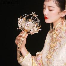 JaneVini יוקרה קריסטל כלה מאוורר מקל יד זר סיני סגנון עתיק זהב מתכת פרחים עגול חתונה זרי אבזרים