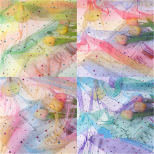 Rainbow sequins mesh fabric gradient color yarn stars moon piece pettiskirt cloth curtain photo props DIY accessories