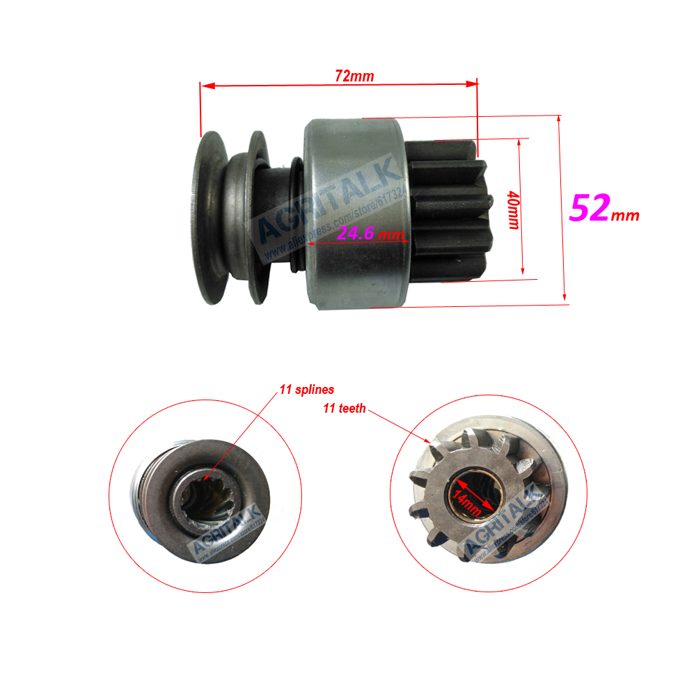 Starter Motor QD1332A, The Drive Pinion For Laidong KM385T / LL380, Please Check The Size When Make The Order