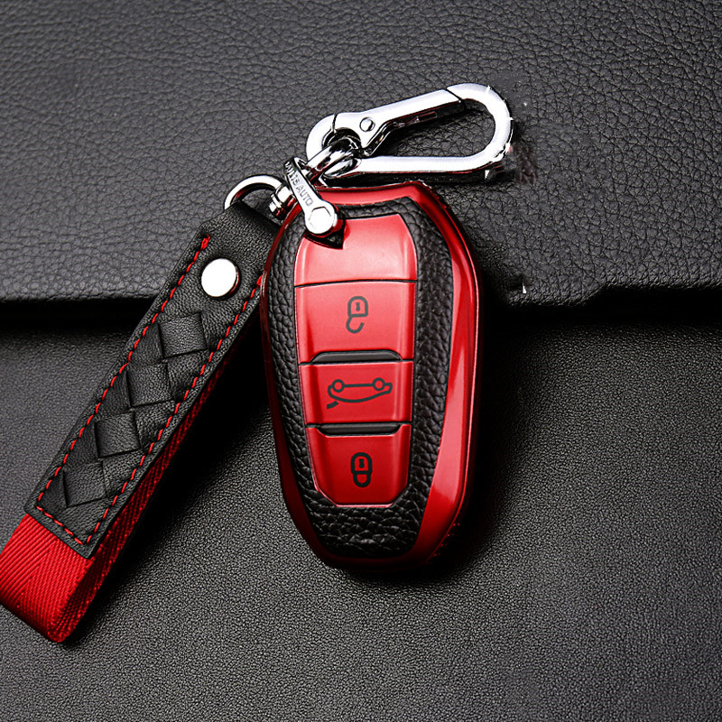 Shell Cover Holder Car Key Fob Case 5008 DS5 DS6 For Peugeot 208 DS3 For Citroen C4 C5 C4L X7 C6 C3-XR 3008 4008 Keychain