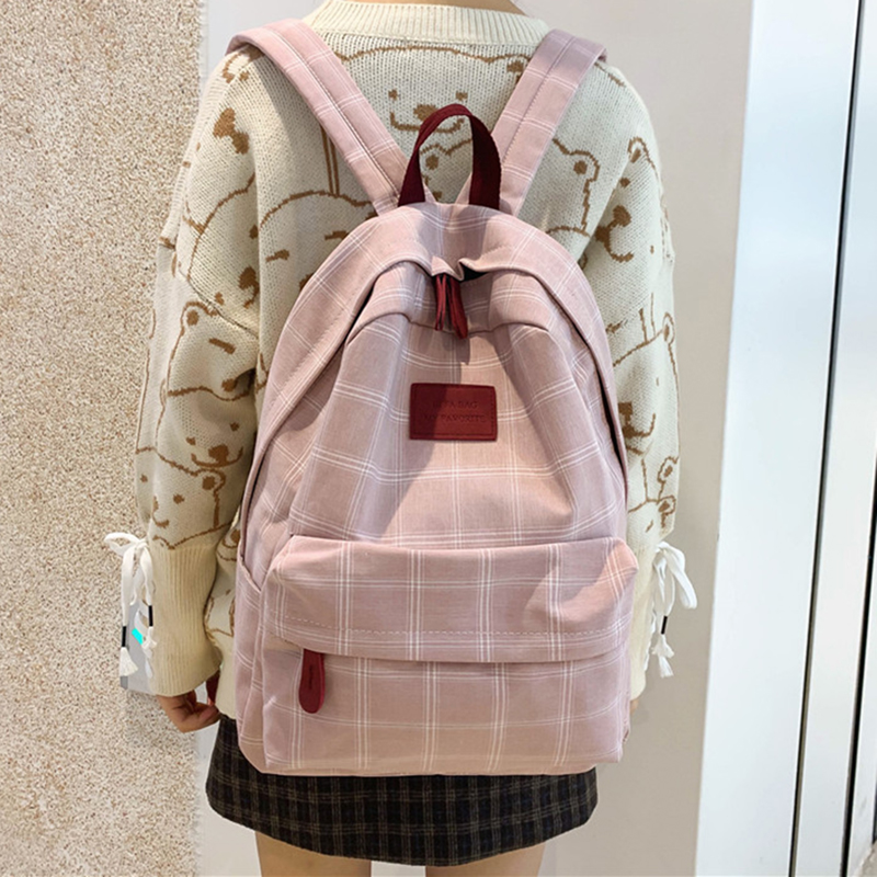 HOCODO Plaid Women Backpack Student Cute School Bag Rucksack Female Mochilas Feminina  School Bags For Teenage Girs Canvas Bag