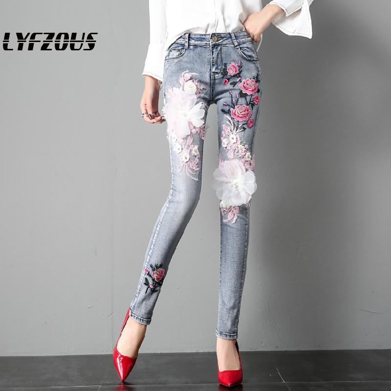 Pantalones De Mezclilla De Pantalones Flacos Las Mujeres Florales Modernas Casual 3d Bordado Recto Capri Jeans De Cintura Alta Con Bolsillos Pantalones Casuales Creeo Com Br