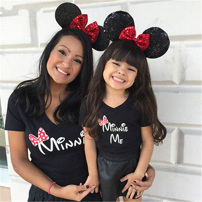 Mother Daughter Tshirt Cartoon Minnie Mouse Black Mommy And Me Tops Tees Clothes Matching Outfits T Shirt Summer Family Look