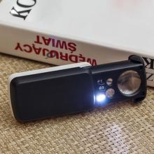 30X 60X 90X lente d #8217 ingrandimento gioielli valutazione lettura lente d #8217 ingrandimento Mini tasca palmare monete francobolli lente di ingrandimento gioielli con LED UV cheap alloet CN (Origine) NONE Tenuto in mano Magnifiers Luce LED Di vetro Optical Instruments Backlit Magnifier