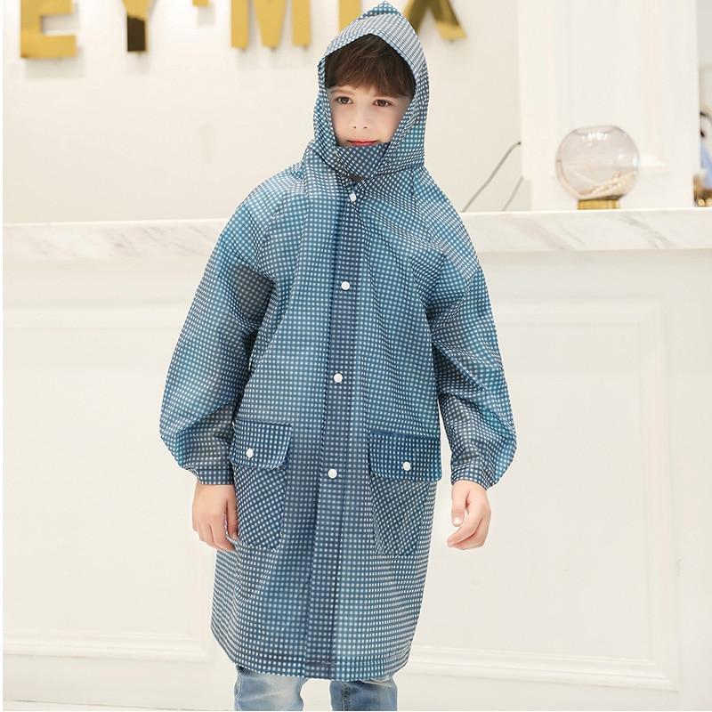 Yuding Children Raincoat Waterproof Poncho Girls Outdoors Kids Plaid Boys for 110-140cm