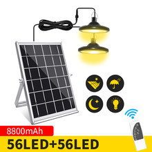 8800mAh Solar Outdoor Light IP65 Waterproof Motion Sensor Solar Chandelier Upgraded Version Dual-Head 112 LED For Garage Garden
