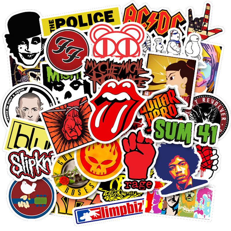 50Pcs/set Rock Music Band Stickers Graffiti Cool Pegatinas For Motorcycle Notebook Laptop Luggage Bicycle Skateboard