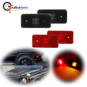 GTinthebox Amber & Red LED Replace Car Front & Rear Side Marker Lights For 2002-2014 Mercedes W463 G-Class Side Fender Lights