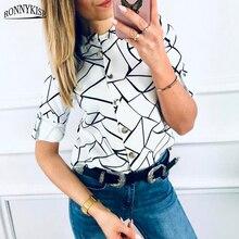 RONNYKISE Long-sleeved Blouses Womens Fashion Cut Pattern Chiffon Shirt Summer Autumn Ladies Shirts