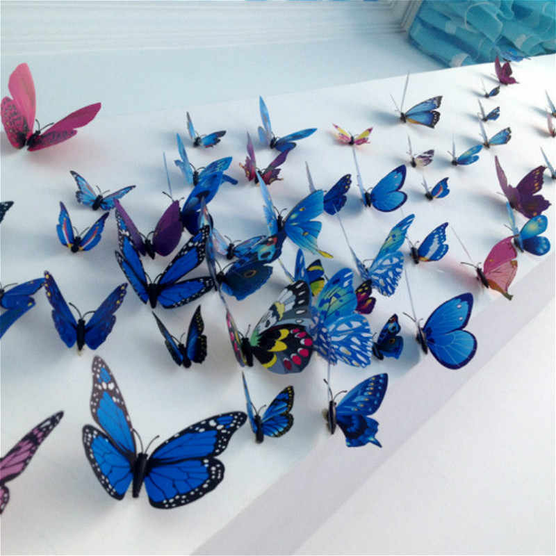 12pcs/lot Colorful Butterfly Fridge Magnets 3D Butterfly Design Art Stickers Room Magnetic Home Decor DIY Wall Decoration