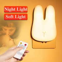 220В светодиодный ночник с вилкой, лампа с кроликом и таймером, настенный светильник с дистанционным управлением для детской спальни, украше...