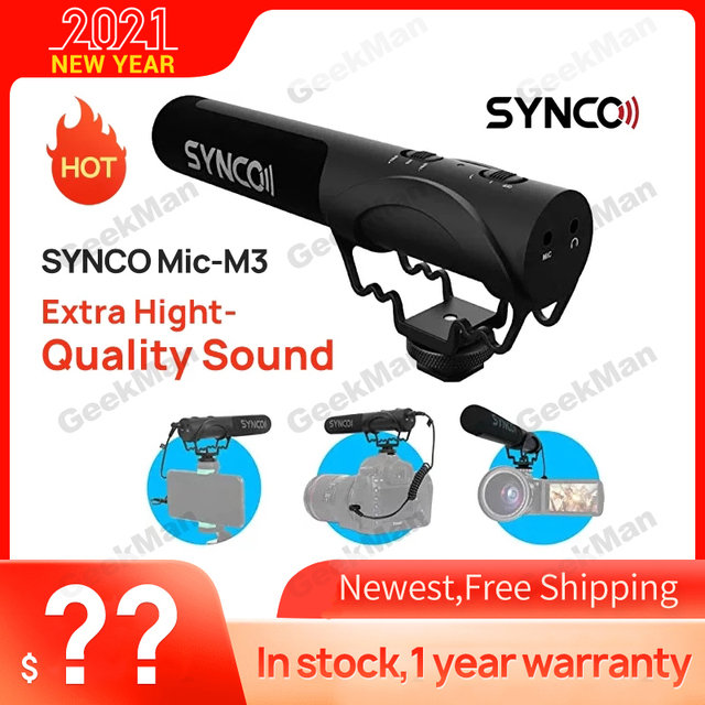 SYNCO Mic M3 On Camera Shotgun Mic Super Cardioid Condenser Video Microphone with 3.5mm TRRS TRS Cables for Smartphone, DSLR Cam