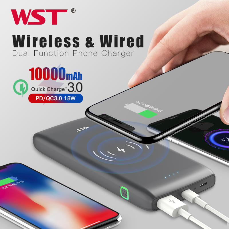 WST <font><b>10000mAh</b></font> Wireless Charger Power Bank PD3.0 18W Quick Charge <font><b>Powerbank</b></font> With Type C Portable Wireless Battery Charger image