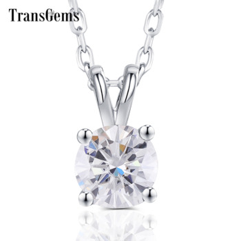 Transgems Solid 14K 585 White Gold 1ct Carat 6.5mm GH Color Moissanite Pendant for Women Gift Office Ladies - sale item Fine Jewelry