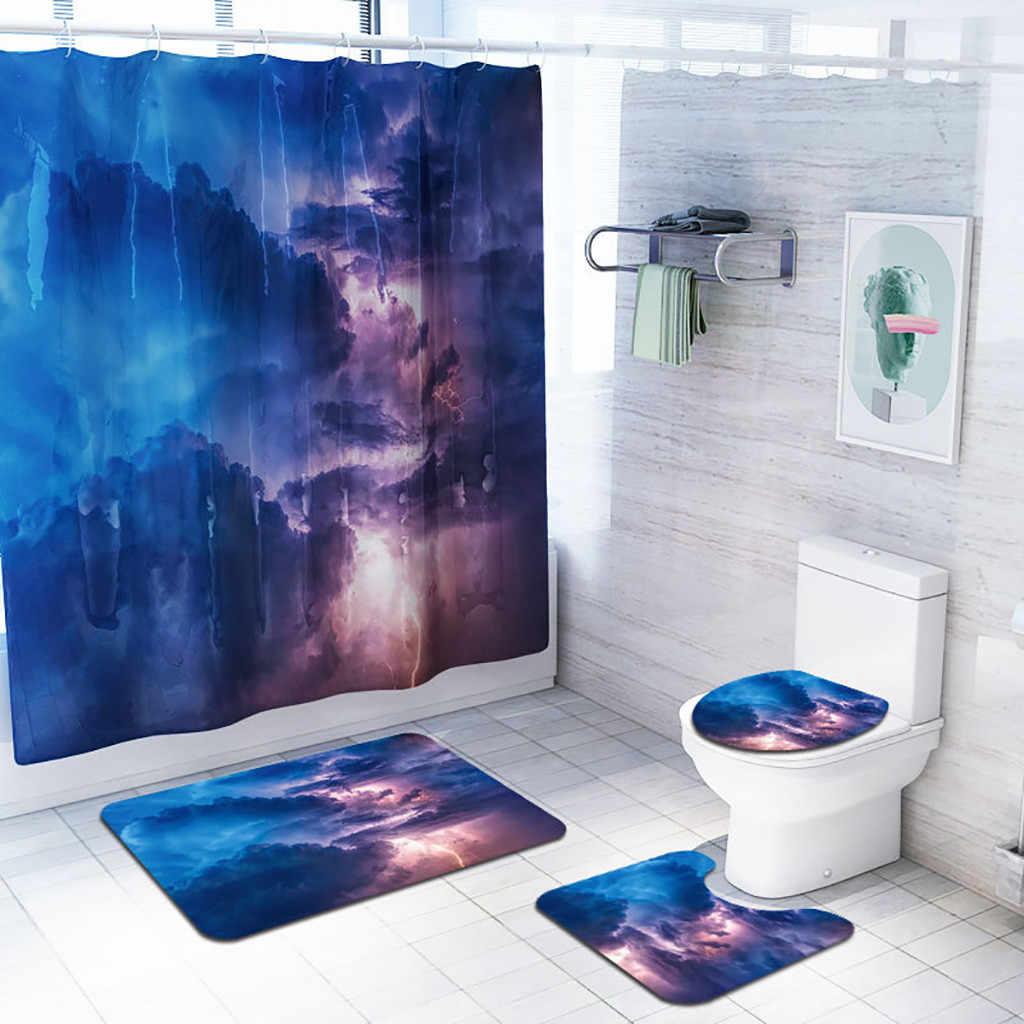 4 ピース浴室マットセットシャワーカーテン床マット便座クッションと正方形パッドロージー雲スタイル #4