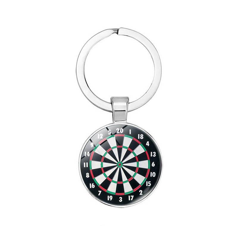 BTWGL 2020 Personality Dart Target Keychain Keyring Jewelry Pendant Convex Glass Keychain Friends Gift