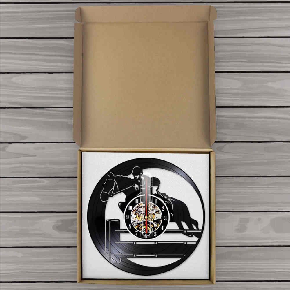 Binicilik hobi vinil kayıt duvar saati Vintage at binme spor sanat at binici atlı Vintage saat duvar saati