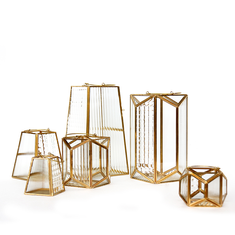 Bougeoir en verre pour les lumières de thé ornements lumières de noël chandelier artisanat géométrique en métal Portable Style nordique GG50zt