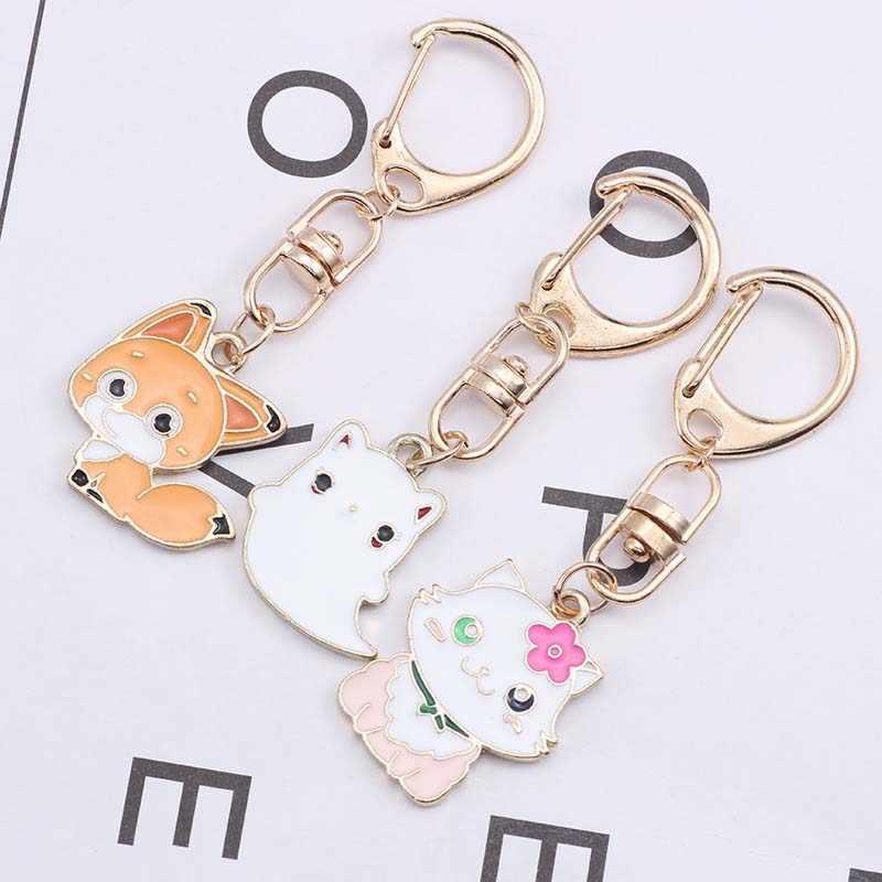 น่ารักการ์ตูนสัตว์ Cat Fox จี้โลหะพวงกุญแจสำหรับหญิงสาวน่ารักกระถางต้นไม้ Key Ring ผู้หญิงกระเป๋าจี้ของขวัญเครื่องประดับ