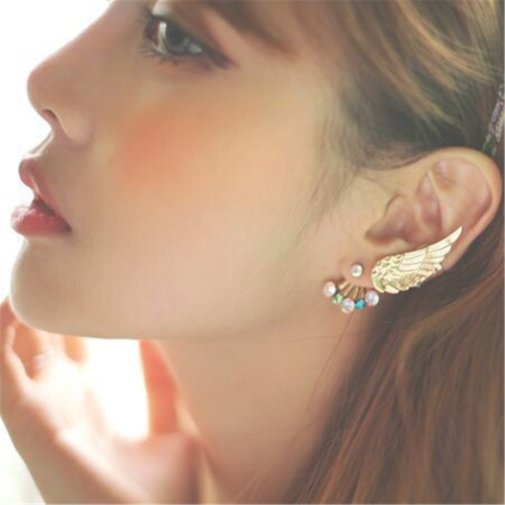 New Wing Colorful Crystal Stud Earrings For Women Charm Alloy Fashion Jewelry Gifts