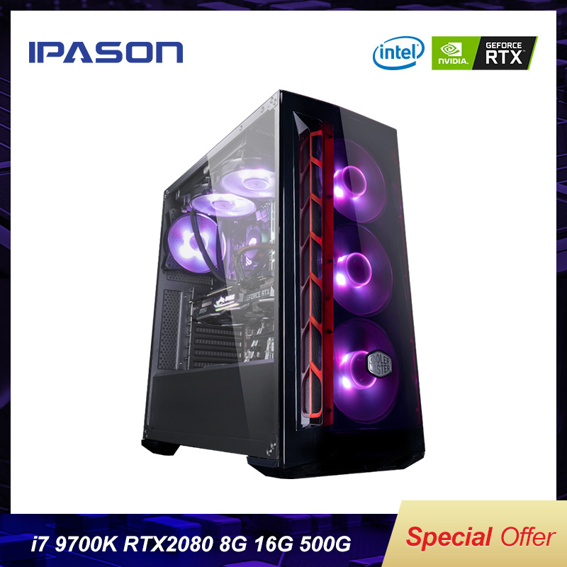 Intel 8-Core 8-threads IPASON Desktop Computer I7 9th Gen 9700k/Z390/DDR4 16G RAM/500G M.2 +2T SSD/RTX2080 8G  Gaming PC