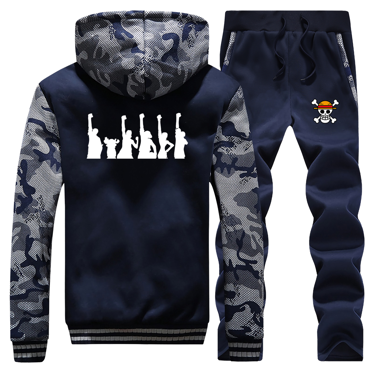 One Piece Japan Anime Hoodies Pant Set Men The Pirate King Luffy Tony Chopper Tracksuit Coat Winter Thick Jacket Camo 2 PCS Sets