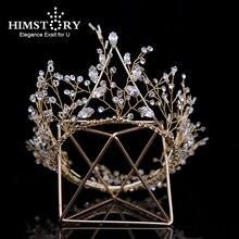 Himstory Handmade Gold Round Tiaras  Crowns Zirconia Rhinestones Diadem Queen Princess Wedding Accessories Hair Jewelry