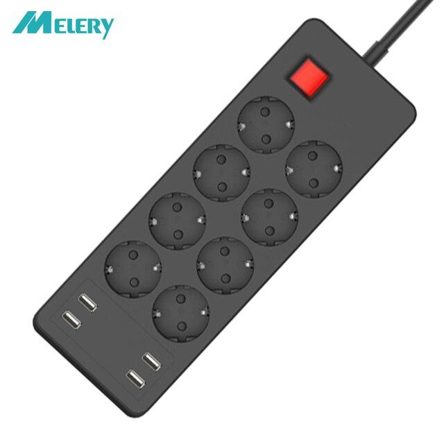 Несколько Мощность полосы Стабилизатор напряжения 4/6/8 способ розетками переменного тока EU электрическая розетка с USB Зарядное устройство адаптер 1,5 м кабель удлинитель