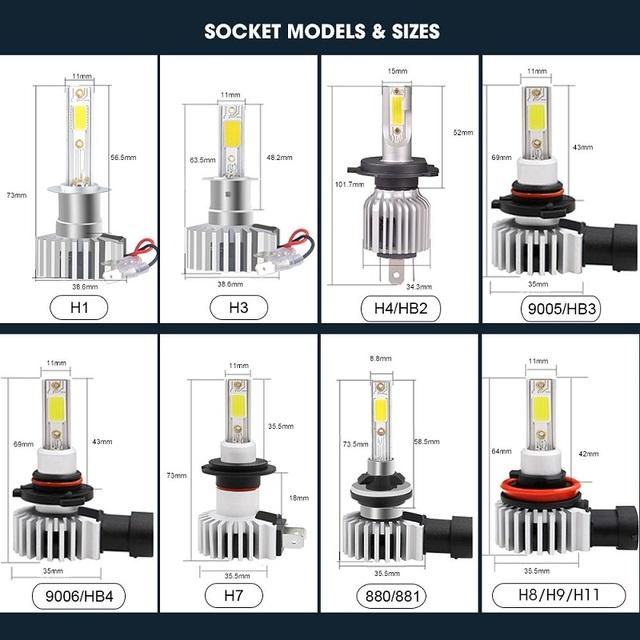 RACBOX 2pcs H4 H1 H3 H7 H11 H8 H9 H27 880 881 9005 HB3 9006 HB4 Led Headlight Bulbs 72W 8000LM Car Styling 3000K 6000K 10000K