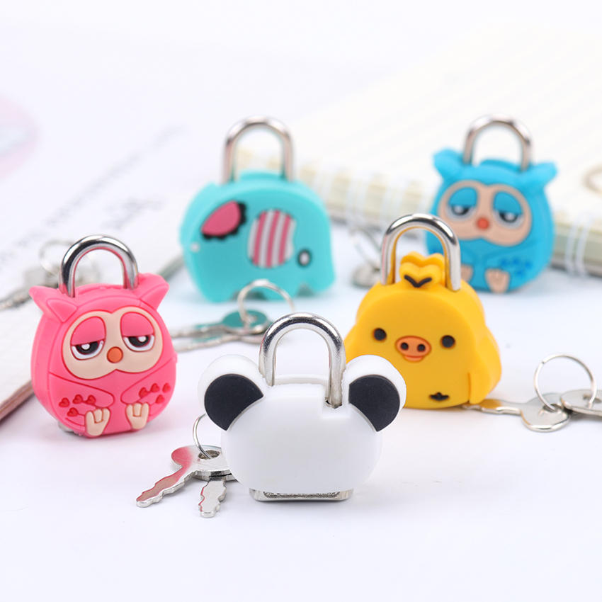 1PC New Stationery Accessories Cute Cartoon Kawaii Animals Luggage Bag Metal Lock Journal Diary Book Lock