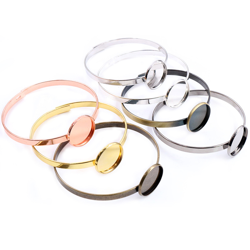 20mm 7 Colors Plated Plated Single Circle Bangle Settings Bracelet Cabochon Base Cameo Blank Bezel Tray High Quality Accessories