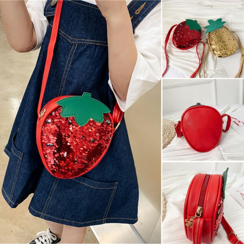 New Kids Girl Handbags Lovely Strawberry Pineapple Sequins Bags Single Sequins Fruit Shape Shoulder Bag Coin Purse Small Handbag