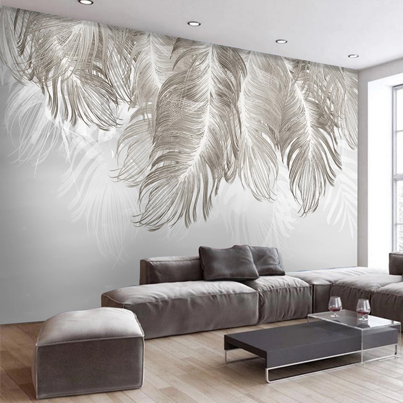Custom Photo Mural 3D Creative Feather Bedroom Dining Room Living Room Sofa TV Backdrop Wall Painting Wallpaper Papel De Parede