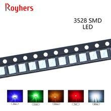 100pcs 3528 SMD LED White Red Yellow Blue Green Orange Purple RGB High Light Emitting Diode Kit PCB DIY