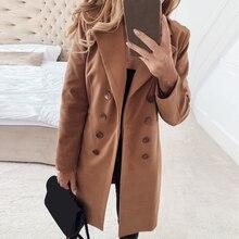Женское зимнее шерстяное пальто с длинным рукавом в европейском стиле размера плюс, Осеннее Новое тонкое длинное шерстяное пальто casaco feminino