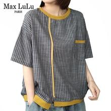 Max LuLu 2020 Fashion Summer Streetwear Ladies Vintage Striped Tee Shir