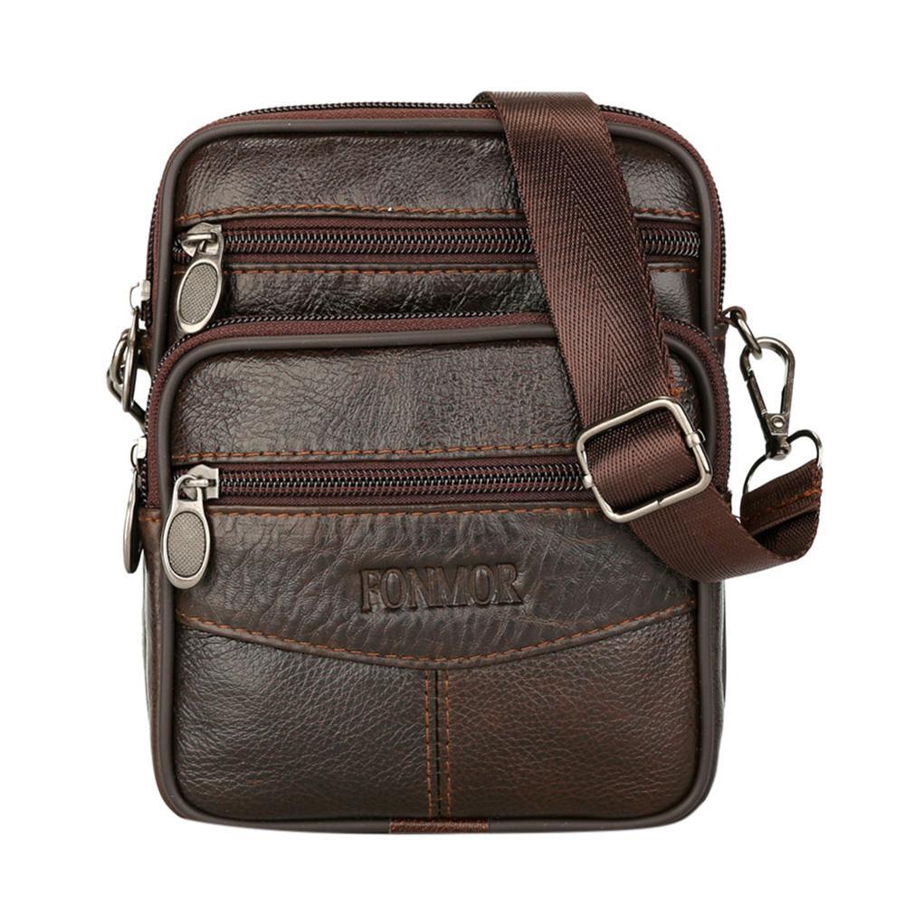 Hot Mens Leather Small Messenger Bag Satchels Multifunctional Messenger Shoulder Bag Genuine Leather Crossbody Bags Dropshipping
