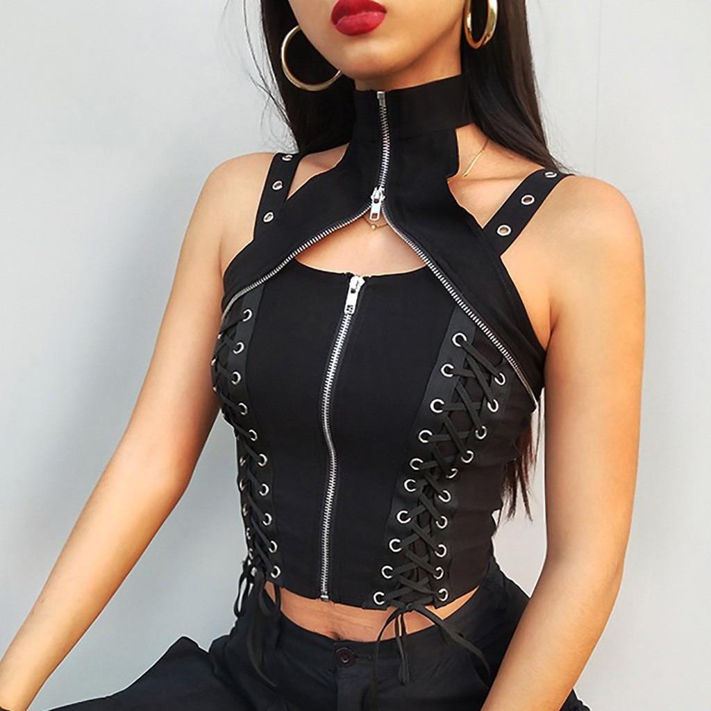 Débardeur gothique pour femmes, à fermeture éclair, pull Sexy, court, sans manches, à col roulé, noir, chemise haute