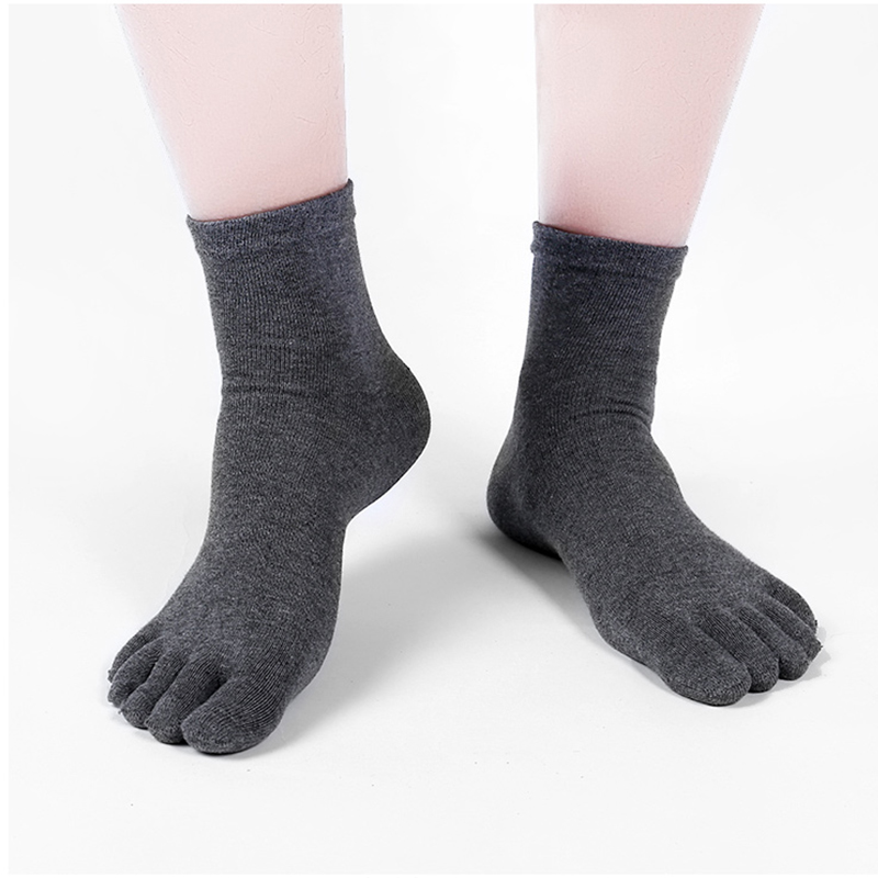 Toe Socks Men and Women Five Fingers Socks Breathable Cotton Socks Sports Running Solid Color Black White Grey Blue khaki coffee