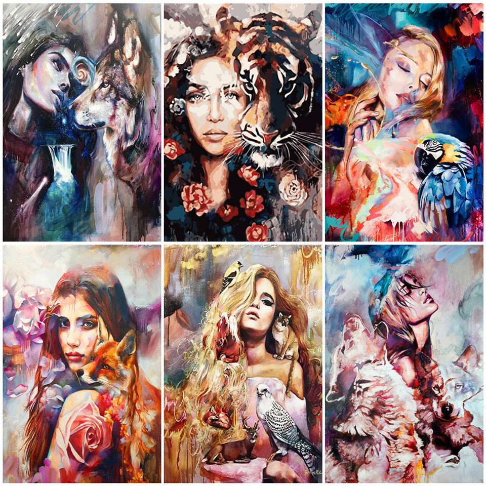 AZQSD Paint By Number Canvas Painting Kits Wolf Girl Handpainted Gift DIY Unframe Coloring By Numbers Animal Home Decoration