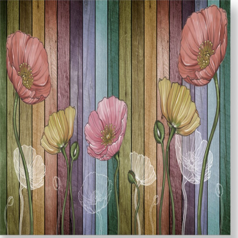 Drop Shipping Custom Mural Abstract Hand Painted Tulip Wallpaper European Wooden Mural Bedroom TV Background Wall Mural