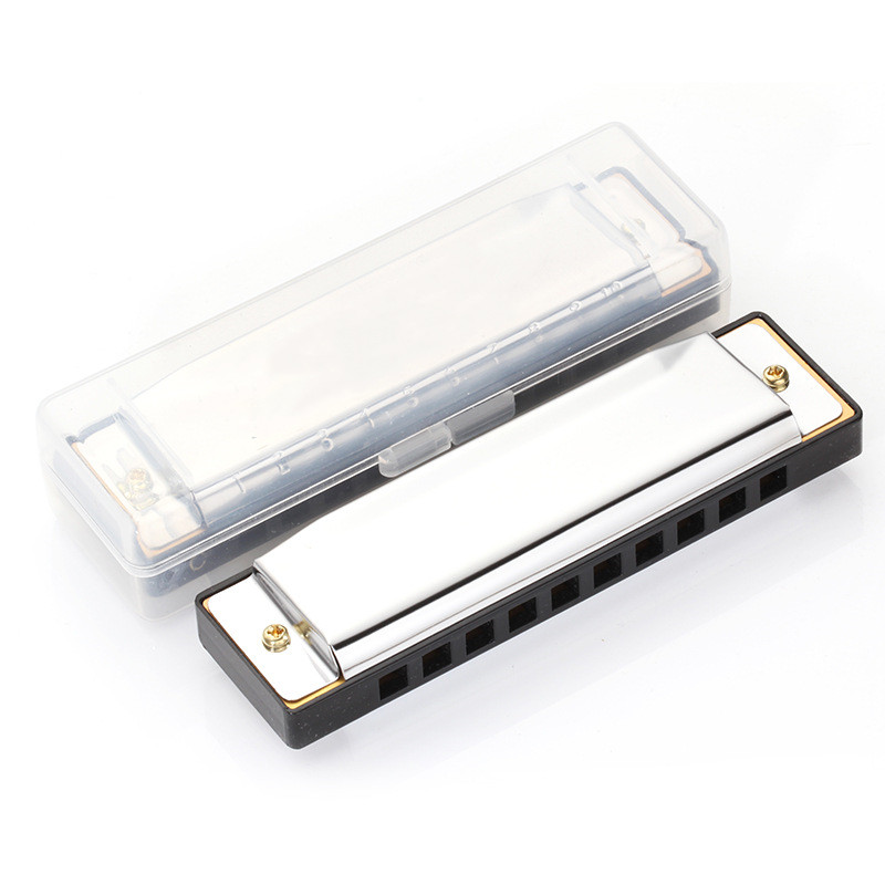 10 Holes Harmonica Children's Puzzle Musical Educational Toys Silver with Storage Box Musical Instrument C Blues Metal Harmonica