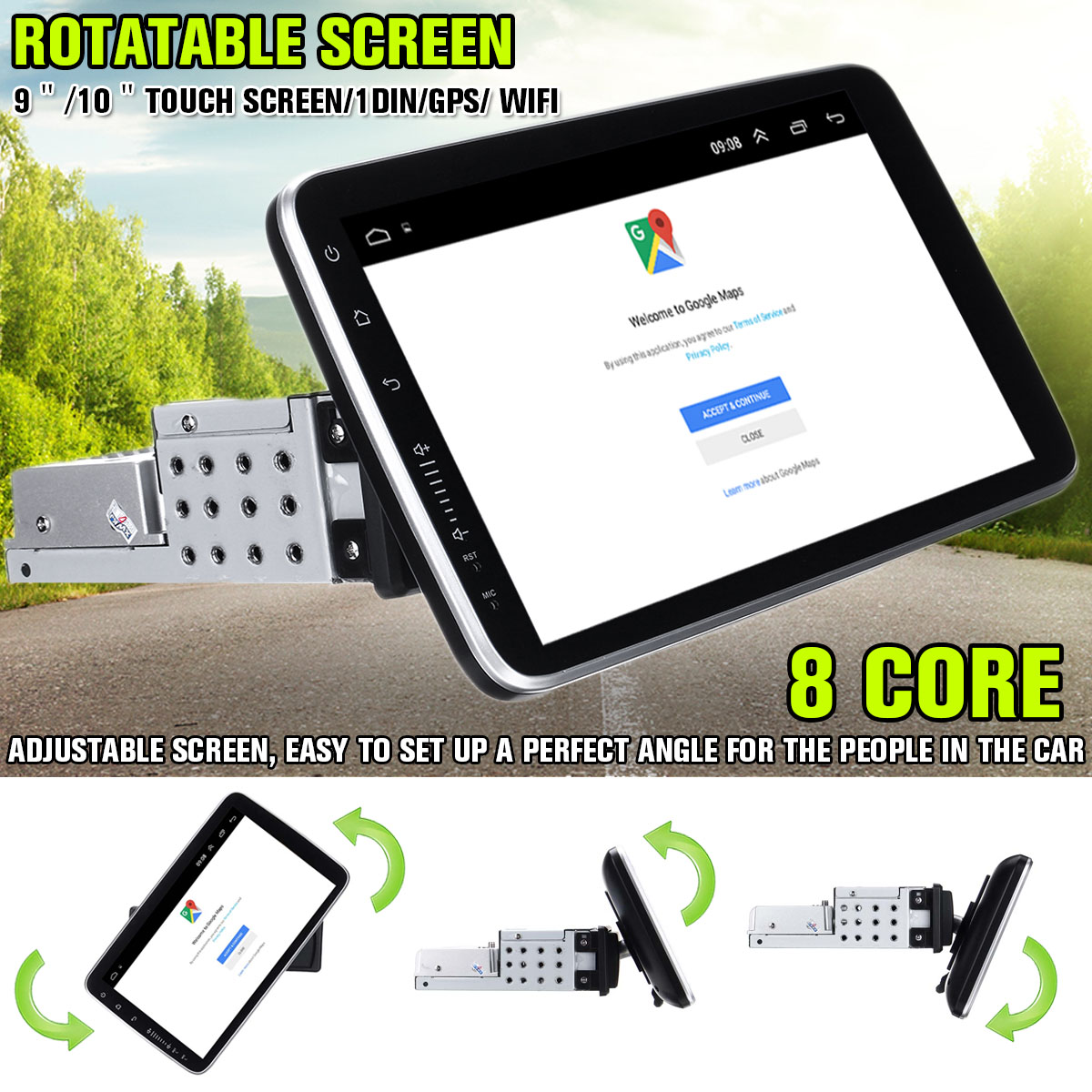 Rotatable Car Multimedia Player 16/32G 8 Core Stereo For Android 8.0/8.1 With 360 Degree Up Down Screen GPS WiFi Radio Player