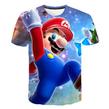 Super Mary camiseta divertida 3D para niños, ropa de verano de moda para niños, Camiseta de Juego, ropa para niños y niñas, manga corta de dibujos animados sh