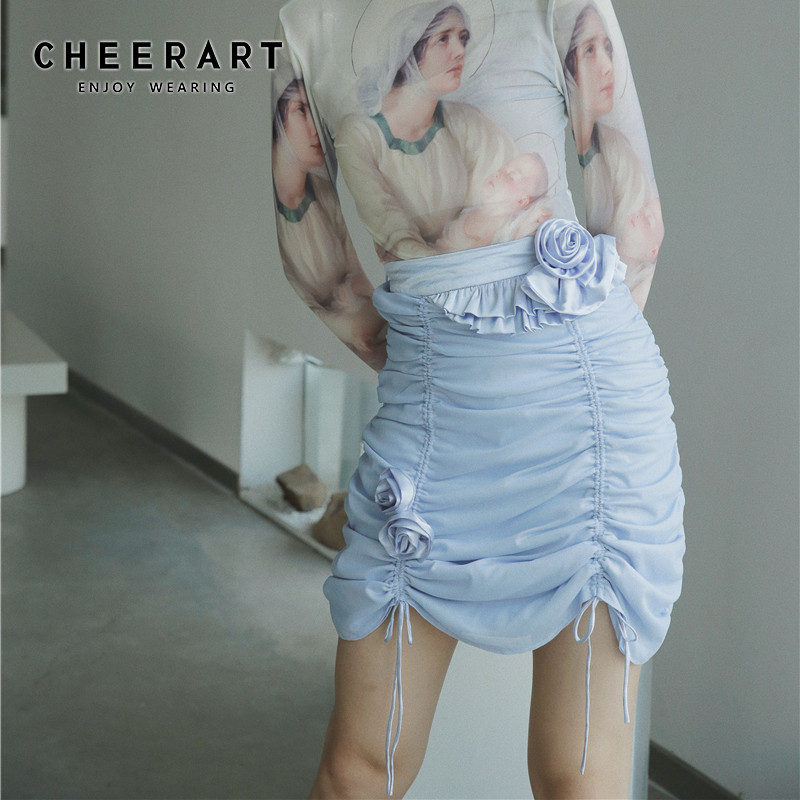 CHEERART Ruched Satin Skirt Women High Waist Rose Patch Mini Ladies Skirt Blue Drawstring Summer Skirts 2020 Fashion image