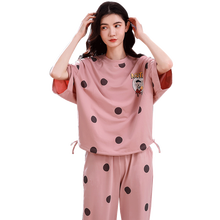 4XL Young Girl Sleepwear Sets Leisure Clothes Spring Thin Short Sleeved Women Pajamas Dot Printing Pyjamas Lovely home clothing
